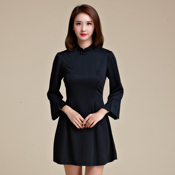 ชุดกี่เพ้าสั้นไซส์ใหญ่ คอจีน แต่งกระดุมจีน แขนยาว สีดำ/สีแดง (XL,2XL,3XL)