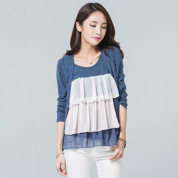 เสื้อเย็บหลอกสองชิ้นคอกลมแขนยาว สีน้ำเงินเข้ม (XL,2XL,3XL,4XL)