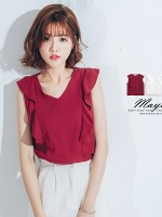 ♥♥ สีแดง ไซส์ S พร้อมส่งค่ะ ♥♥ เสื้อแฟชั่น คอวีแต่งระบายช่วงแขนกุด ผ้าเนื้อดีสวมใส่สบาย