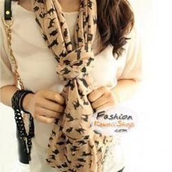 ผ้าพันคอแฟชั่นลายแมวพื้นสีน้ำตาลอ่อน : Sara Brown Cat CK0114