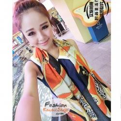 ผ้าพันคอแฟชั่น ลายเสือดาวประดับโซ่ : สีส้ม CK0444