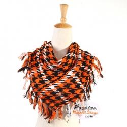ผ้าพันคอชีมัค Shemash (เนื้อผ้า Cotton) : สีส้มดำ CV0003