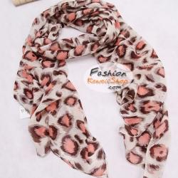 ผ้าพันคอแฟชั่นลายเสือ Leopard : สีน้ำตาลแดงอ่อน CK0174
