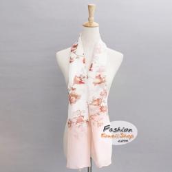 ผ้าพันคอแฟชั่นลายดอกไม้ : สีชมพู CK0261