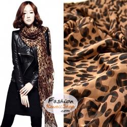 ผ้าพันคอแฟชั่นลายเสือ Leopard : สีน้ำตาลกาแฟ CK0330
