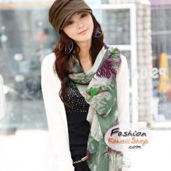 ผ้าพันคอแฟชั่น H&M : ลายดอก Begonia สีเขียว CK0281