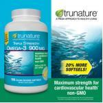 Trunature-TRIPLE Strength OMEGA-3 =900mg (เข้มข้น3เท่า) ขวด200 เม็ด บำรุงหัวใจ ควบคุมไขมันในเลือด (exp.07/2020) หมด-มา3กค
