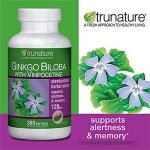 Trunature-Ginkgo 120mg 300เม็ด150วัน แป๊ะก้วย บำรุงสมองปลอดโปร่ง ช่วยให้เลือดไหลเวียนในสมองดี (exp.03/2020) หมด