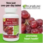Trunature-GrapeSeed 300mg+Resveratrol 30mg 150เม็ด รักษาความอ่อนเยาว์ เสริมสร้างคอลลาเจน ลดริ้วรอย (หมด มา20มิย)