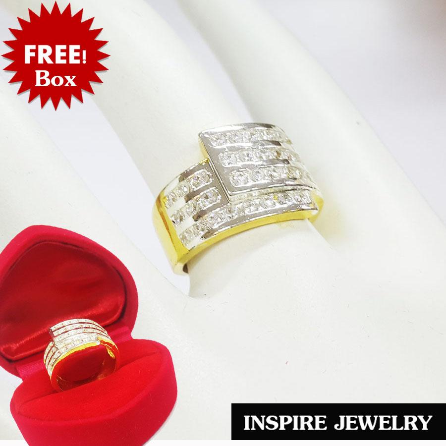 Inspire Jewelry ,แหวนฝังเพชรCZ งานจิวเวลลี่ ฝังล็อคหรือฝังสอด เรียงสามแถว เครื่องประดับมงคล ตัวเรือน หุ้มทองแท้ 100% 24K สวยหรู พร้อมกล่องกำมะหยี่