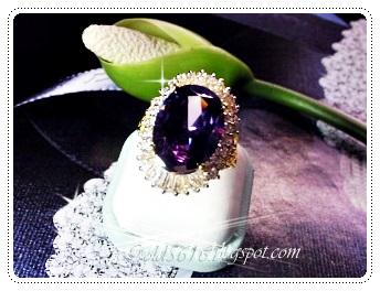 แหวนพลอยไวโอเล็ตแช็ฟไฟร์ล้อมเพชร/gold plated 5microns/white gold plated