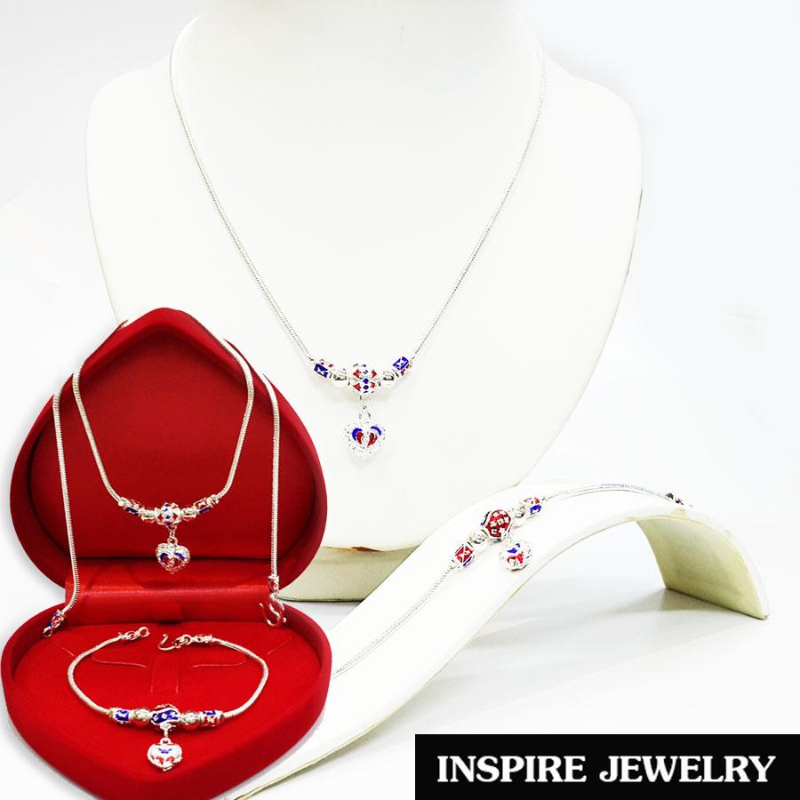 Inspire Jewelry ,ชุดเซ็ทสร้อยคอทองสังวาลย์และสร้อยข้อมือ ห้อยหัวใจ ลงยาคุณภาพ หุ้มเงินแท้ พร้อมกล่องกำมะหยี่สวยหรูตามแบบ