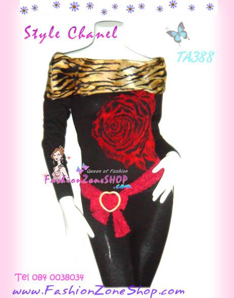 #CheerUp# Annasui Style เก๋ดูดีค่ะ TA388 ::ChicTop ใหม่! เสื้อปกตลบ เฟอร์ลายเสือที่ปก แขนยาวผ้าคล้ายไหมพรมผสมวูล ลายดอกกุหลาบ ดูไฮโซ สีดำ