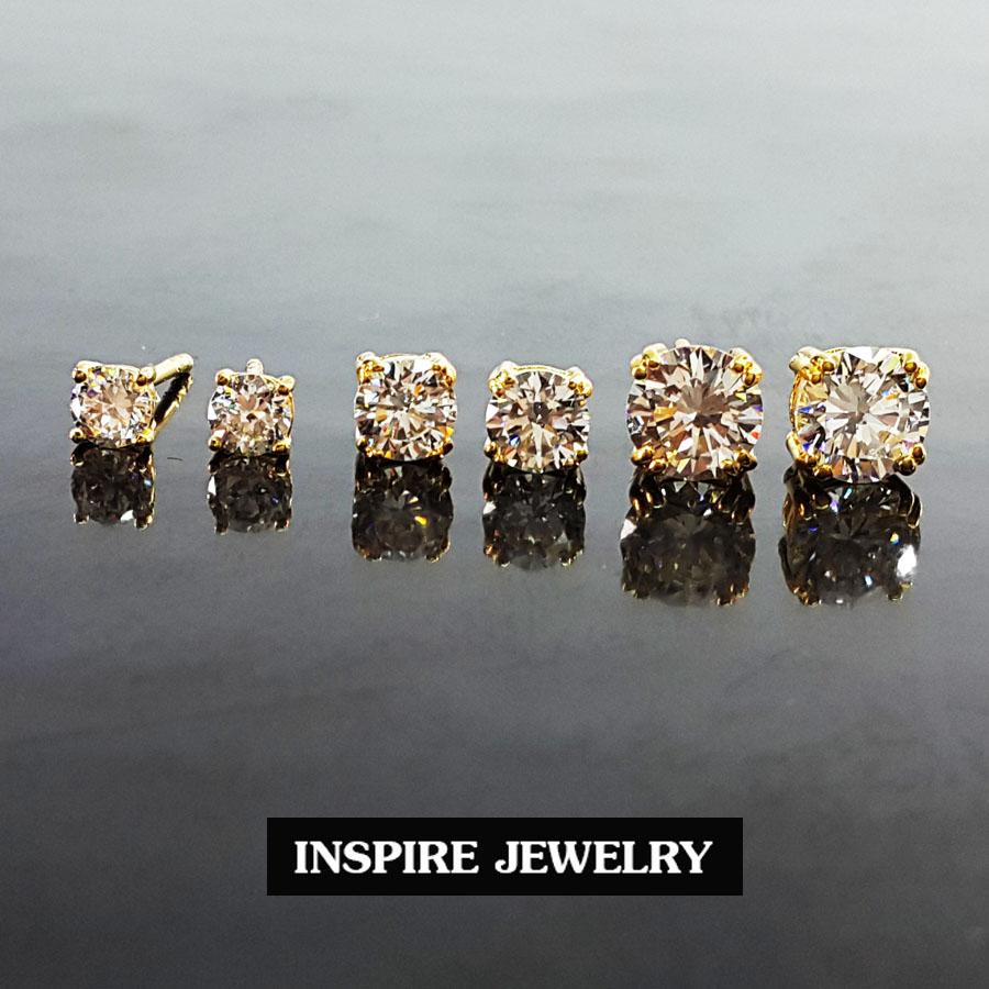 Inspire Jewelry ต่างหูเพชรเม็ดเดียวฝังหนามเตย งานจิวเวลลี่ มีไซด์ให้เลือก S,M หรือ L - ราคานี้ต่อคู่เดียว