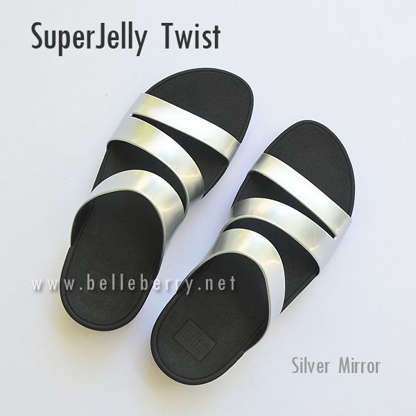 **พร้อมส่ง** FitFlop SUPERJELLY TWIST : Silver Mirror : Size US 7 / EU 38