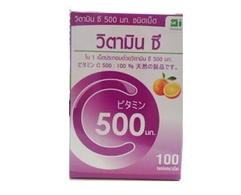 Vitamin C 500 mg. ขนาด 100 เม็ด ของ T MAN ป้องกันการทำลายเซลล์จากอนุมูลอิสระ เสริมสร้างภูมิต้านทาน ลดอนุมูลอิสระ ทำให้ไม่เป็นหวัดง่าย หรือติดเชื้อง่าย