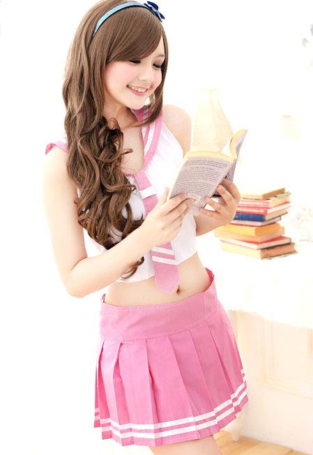 ชุดคอสเพลย์นักเรียนสีชมพู ผูกหลัง น่ารัก สไตล์สาวญี่ปุ่น