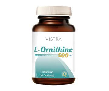 Vistra L-Ornithine 500 mg 30 แคปซูล เสริมสร้างกล้ามเนี้อ และความแข็งแรงของกล้ามเนื้อ เหมาะสำหรับผู้ที่เพาะกาย