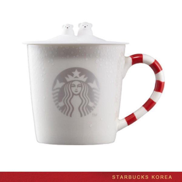 Preorder STARBUCKS KOREA 2016 Candy Cane Polar Bear Mug 355ml