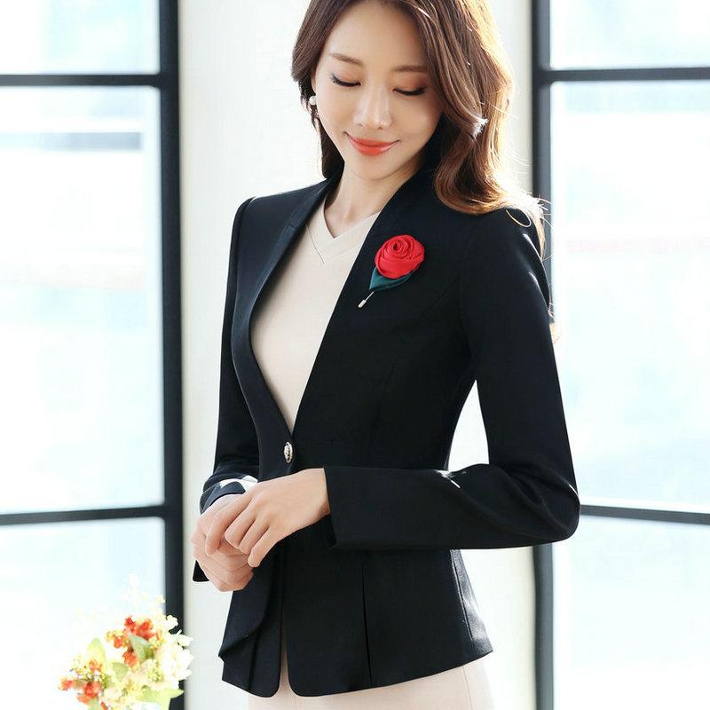 เสื้อสูทผู้หญิงแขนยาวสำหรับพนักงานออฟฟิต เสื้อสูทคลุมไม่มีปกสีดำ