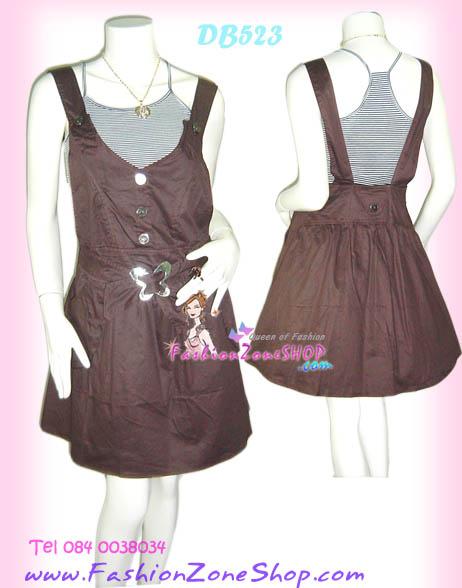 แบบเก๋ค่ะ DB523: Attractive Lady เอี๊ยมเดรส ผ้าเกลสคอตตอนฮ่องกง พร้อมตัวใน เก๋ด้วยหัวเข็มขัดผีเสื้อสวยทั้งหน้าหลังห้ามพลาด