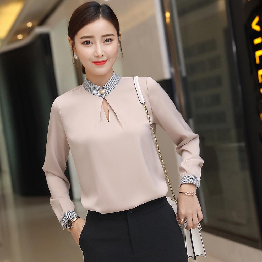 เสื้อทำงานผู้หญิงแขนยาวแฟชั่นเรียบร้อยดูดี สีน้ำตาลทอง
