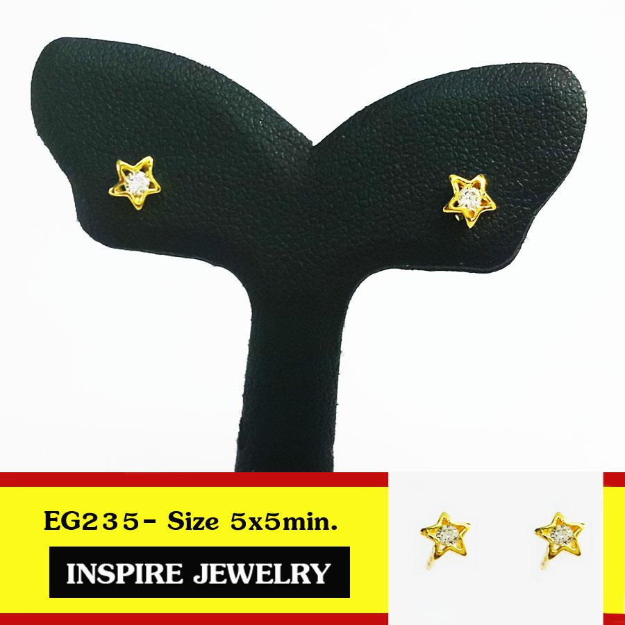 INSPIRE JEWELRY ต่างหูรูปดาวฝังเพชรสวิส ฝังล็อค งานจิวเวลลี่ ขนาด 5x5mm. gold plated 100% size S