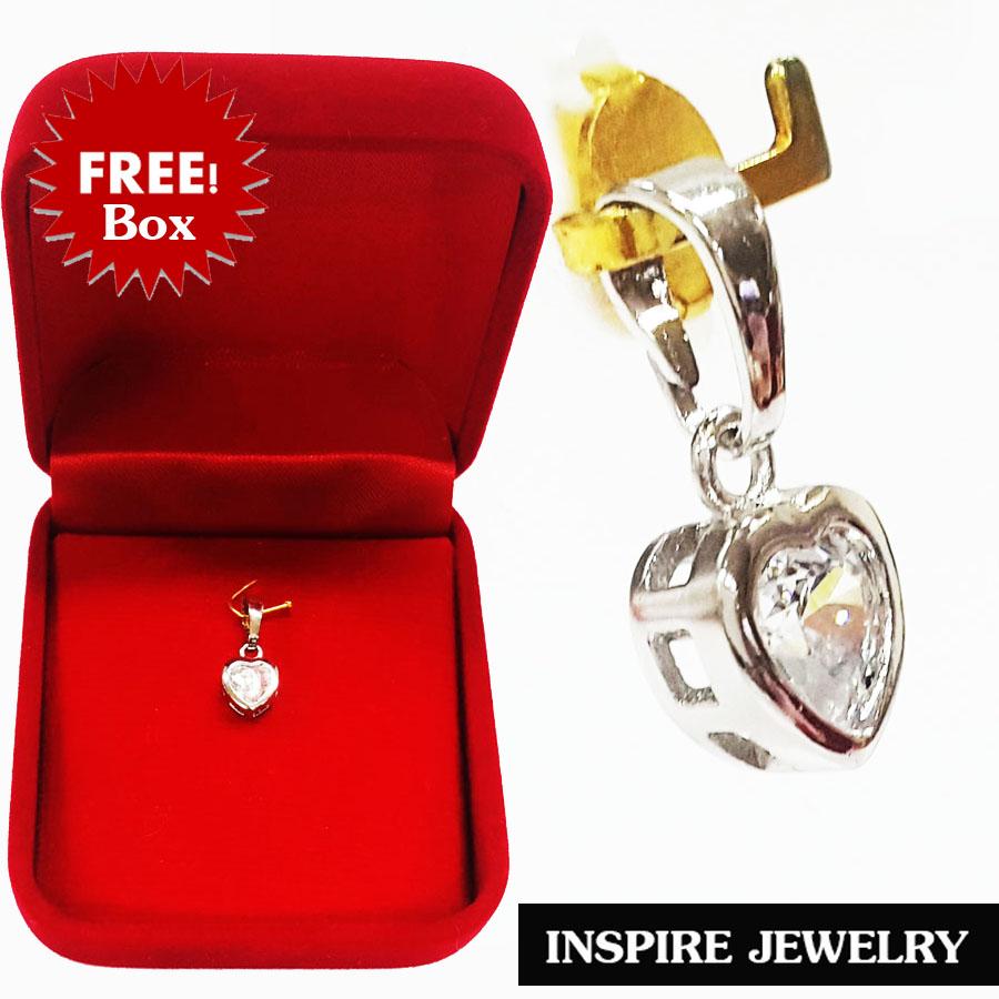 INSPIRE JEWELRY จี้เพชรรูปหัวใจ พร้อมกล่องกำมะหยี่