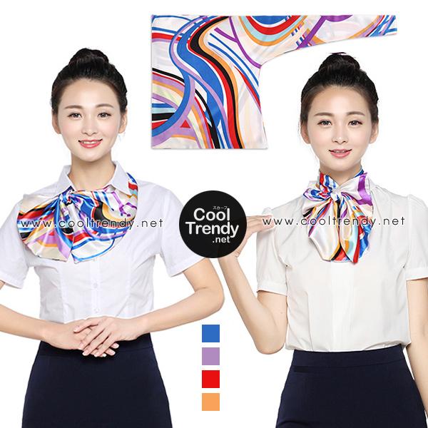 ผ้าพันคอสำเร็จรูป ผ้ายูนิฟอร์ม uniform ผ้าไหมซาติน : L36