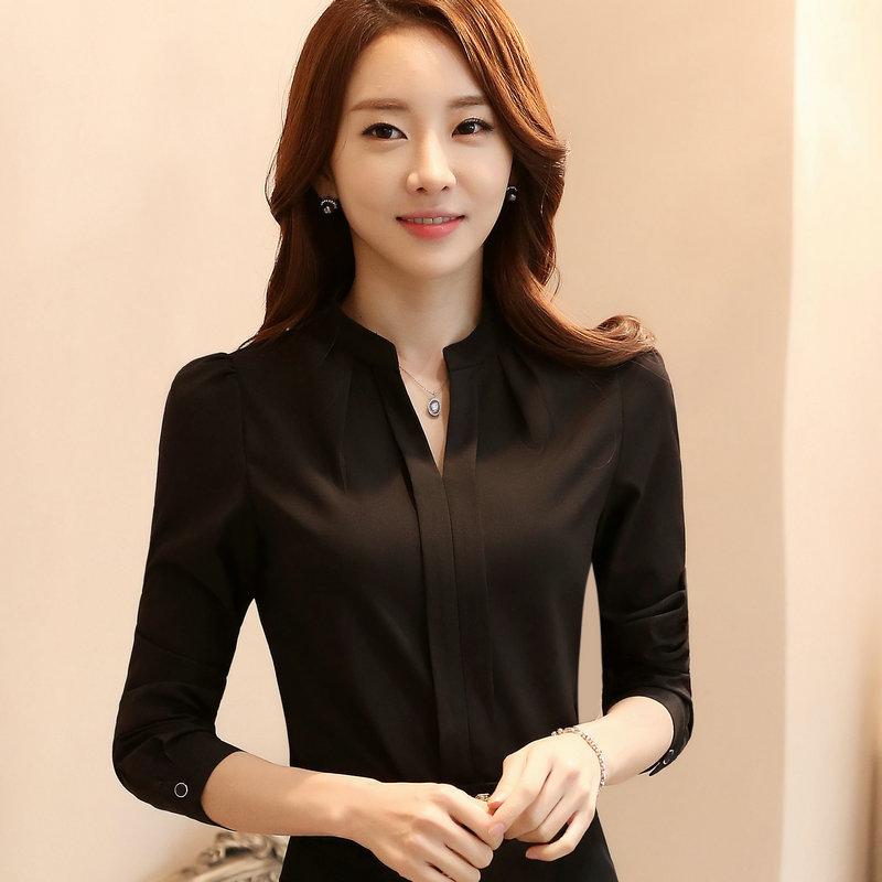 เสื้อผู้หญิงแขนยาวทำงาน สีดำ คอจีนแบบสวม ไม่มีกระดุม เรียบหรู