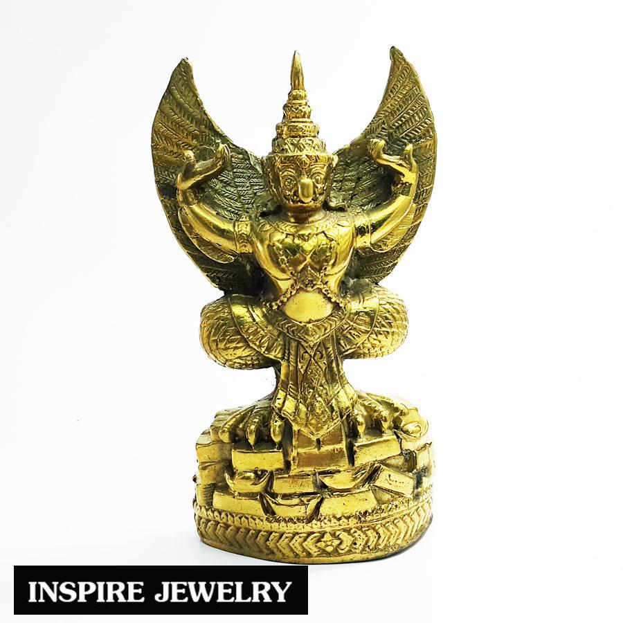 "Inspire Jewelry พญาครุฑเหยียบก้อนทอง หล่อทองเหลือง บารมี ""องค์พญาครุฑ"" สู่ความเจริญรุ่งเรืองแห่งชีวิต ขนาด 7x12cm."
