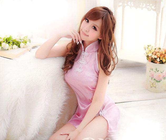 ชุดนอนกี่เพ้าเซ็กซี่ สีชมพู