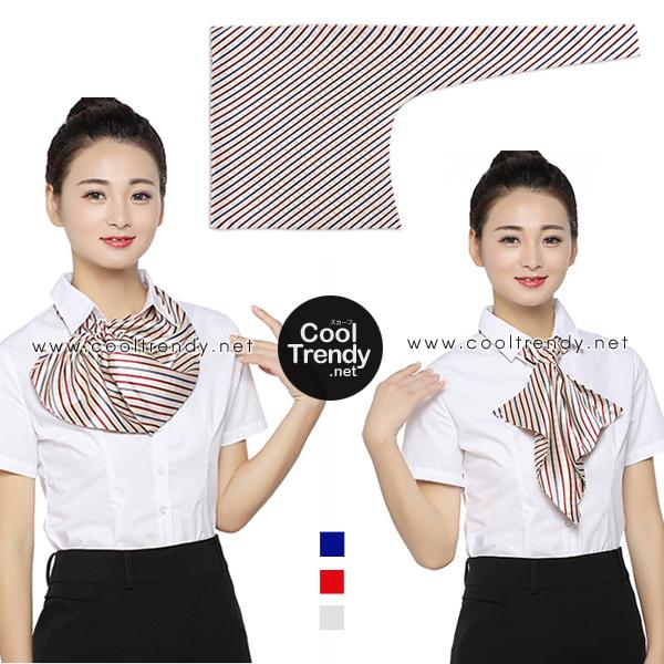 ผ้าพันคอสำเร็จรูป ผ้ายูนิฟอร์ม uniform ผ้าไหมซาติน : L33