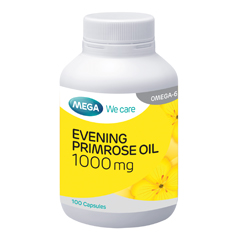 Evening Primrose 1000mg ขนาด 100 แคปซูล จาก Mega we care