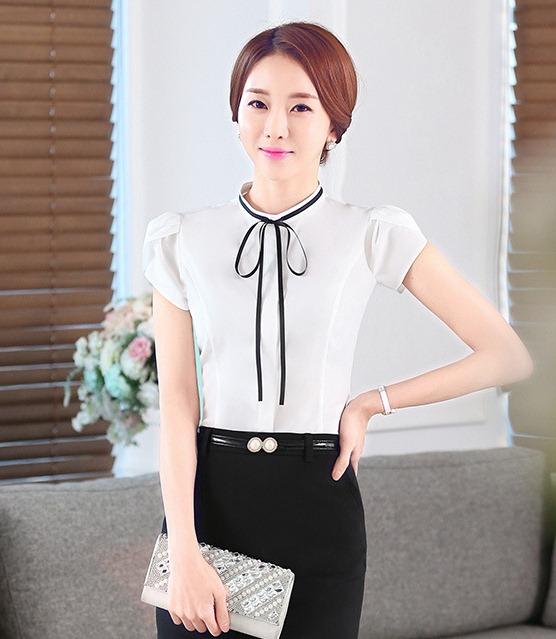 เสื้อเชิ้ตผู้หญิงแขนสั้นสีขาว โบว์เล็ก เป็นชุดยูนิฟอร์ม ชุดทำงานพนักงานออฟฟิต
