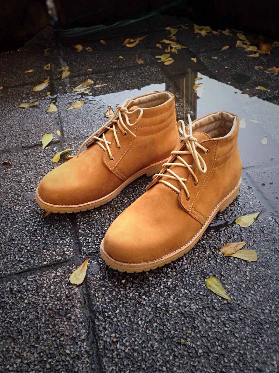 รองเท้าผู้ชาย | รองเท้าแฟชั่นชาย Tan Ankle Boot หนังนูบัคแท้ กันน้ำ