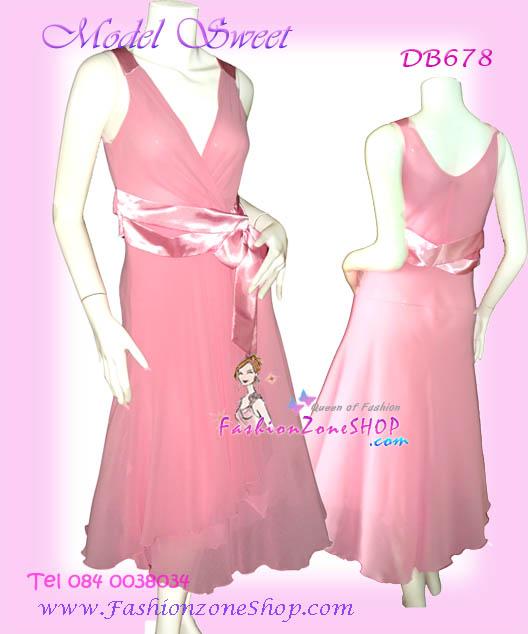 นำเข้าเกาหลี แบบสวยดูดีมาก DB678 Jubilee Nice LAdy ใหม่! แซคผ้าชีฟองอกไขว้ บ่าแต่งผ้าซาติน ชายเฉลียง ผูกโบผ้าซาติน ดูดีมากๆสีชมพหวาน