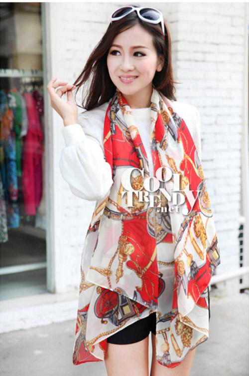 ผ้าพันคอแฟชั่นลายโซ่ Chiffon Chain : สีแดง : ผ้าพันคอ Silk Chiffon 160x60 cm