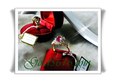 แหวนหัวพลอย ทองหน้าขาว Gold plated 2Microns