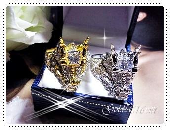 แหวนมังกรเพชร gold plated 5microns/white gold plated
