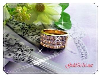 แหวนเพชร 3แถว gold plated 5microns/white gold plate