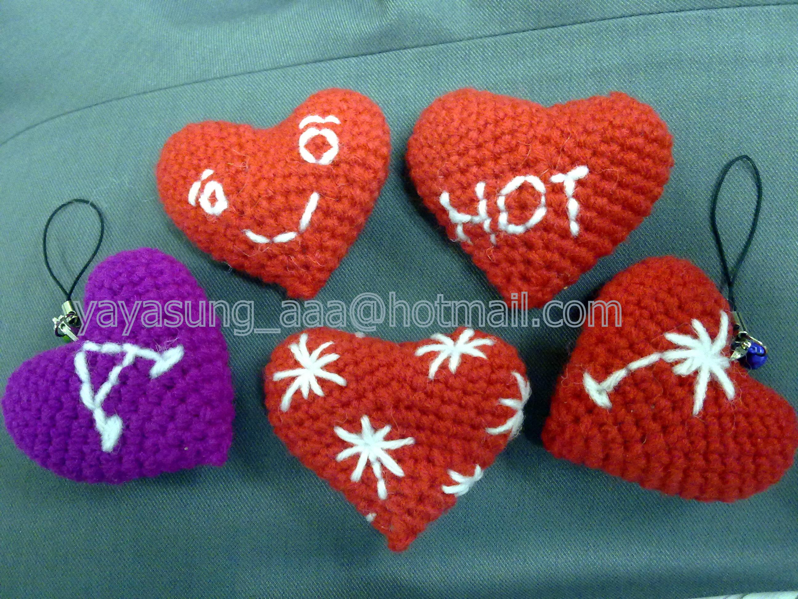 พวงกุญแจโครเชต์รูปหัวใจ