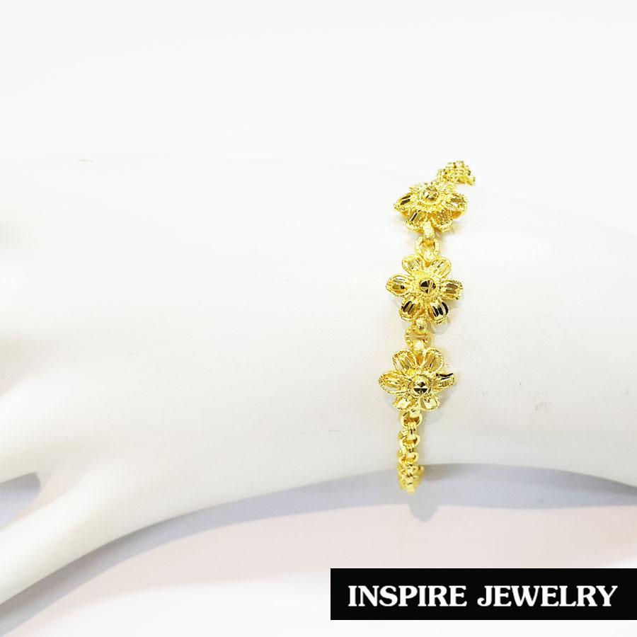 Inspire Jewelry สร้อยข้อมือลายทาโร่ ต่อลาย ดอกไม้สามดอกตอกลายฉลุ น่ารัก ยาว 17cm