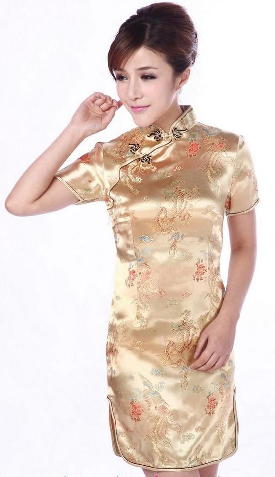 ชุดกี่เพ้าพร้อมส่งสีทอง มีราศี คอจีน ลายมังกร Size M / L / XL / XXL