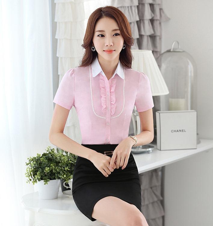 เสื้อเชิ้ตทำงานแขนสั้น สีชมพู เป็นชุดยูนิฟอร์ม ชุดพนักงานออฟฟิต