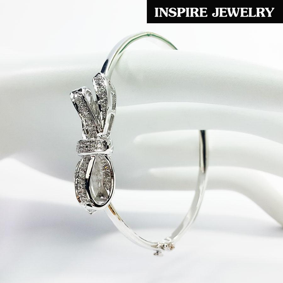 INSPIRE JEWELRY กำไลประดับเพชรสวิสรูปโบว์ สวยงาม ปราณีต งานจิวเวลลี่ ชุบทองแท้ขาว