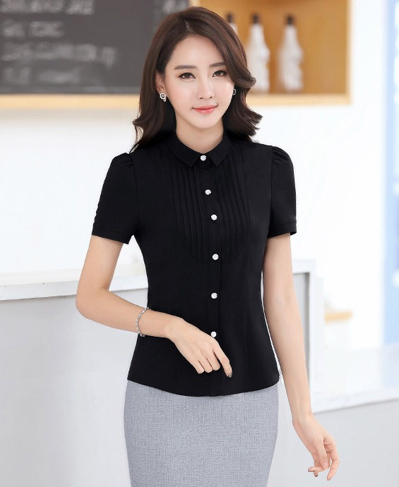 เสื้อเชิ้ตทำงานแขนสั้น สีดำ แบบเรียบๆ