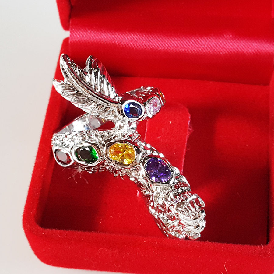 INSPIRE JEWELRY Ring with white gold plated and 9gemstones