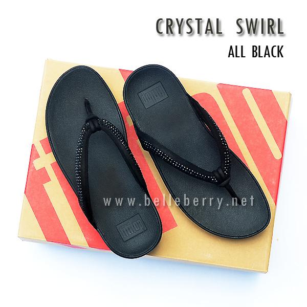 **พร้อมส่ง** FitFlop : CRYSTAL SWIRL : All Black : Size US 5 / EU 36