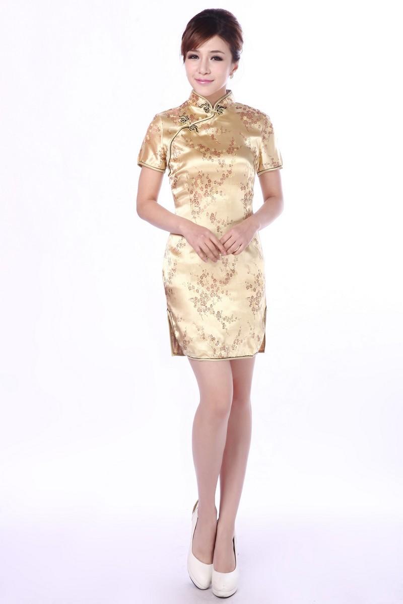 Size M / L / XL / XXL ชุดกี่เพ้าพร้อมส่งสีทอง มีราศี คอจีน ลายดอกไม้เรียบหรู สวยมากๆ